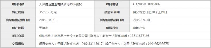 华侨城拟转让天津嘉运置业49%股权 底价3559.33万元